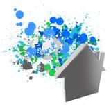 segno della casa 3d sui colori della spruzzata Fotografia Stock