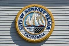 Segno della città della spiaggia di Newport, contea di Orange - California immagine stock