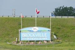 Segno della città di Brockville - Canada immagini stock