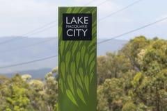 Segno della città di Macquarie del lago, Fotografie Stock Libere da Diritti