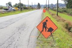 Segno della costruzione di strade Fotografie Stock Libere da Diritti