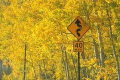 Segno della curva con i colori di caduta Fotografia Stock