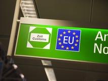 Segno della dogana di Unione Europea Immagini Stock