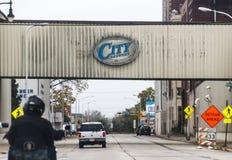 Segno della fabbrica di birra della città fotografie stock libere da diritti