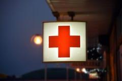 Segno della farmacia del pronto soccorso Fotografie Stock