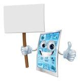 Segno della holding della mascotte del telefono mobile Fotografie Stock Libere da Diritti