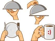 Segno della mano dell'alimento - vassoio del servizio e tazza della tenuta Immagini Stock