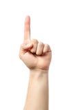 Segno della mano dell'uomo Barretta che indica in su Immagini Stock