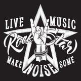 Segno della mano di rock-and-roll con l'iscrizione del rock star Fotografie Stock Libere da Diritti
