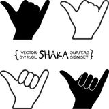 Segno della mano di shaka dei surfisti di vettore Immagine Stock