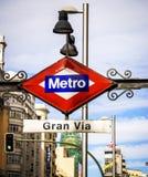 Segno della metropolitana di Madrid Fotografia Stock