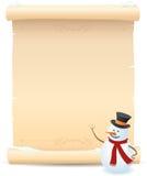 Segno della pergamena e del pupazzo di neve Fotografia Stock