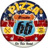 Segno della pizza di Route 66 Fotografie Stock Libere da Diritti