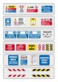 Segno della prevenzione per lavoro nel piedino italiano Fotografie Stock