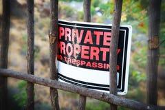 Segno della proprietà privata Fotografia Stock