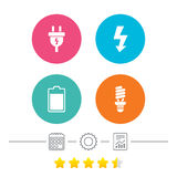 Segno della spina elettrica Lampada e batteria Immagini Stock Libere da Diritti