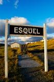 Segno della stazione ferroviaria di Esquel Fotografie Stock Libere da Diritti