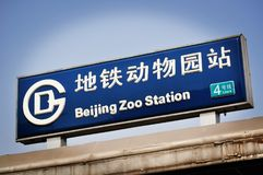 Segno della stazione della metropolitana dello zoo di Bejing Fotografia Stock