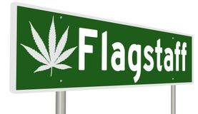 Segno della strada principale con la foglia della marijuana per l'albero per bandiera illustrazione vettoriale