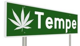 Segno della strada principale con la foglia della marijuana per Tempe royalty illustrazione gratis