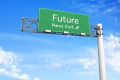 Segno della strada principale - futuro Fotografie Stock Libere da Diritti