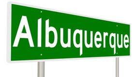 Segno della strada principale per Albuquerque New Mexico su Route 66 storico Immagini Stock