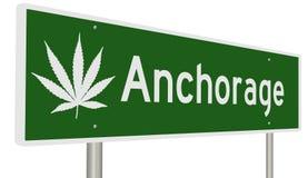 Segno della strada principale per Anchorage con la foglia della marijuana illustrazione di stock