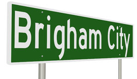 Segno della strada principale per Brigham City Utah Immagine Stock