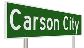 Segno della strada principale per Carson City Nevada Fotografia Stock Libera da Diritti