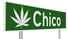Segno della strada principale per Chico California con la foglia della marijuana illustrazione vettoriale