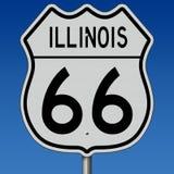 Segno della strada principale per Illinois Route 66 Fotografia Stock Libera da Diritti