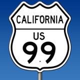 Segno della strada principale per l'itinerario 99 in California Fotografia Stock