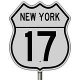 Segno della strada principale per l'itinerario 17 di New York Immagini Stock