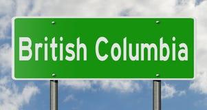 Segno della strada principale per la Columbia Britannica Canada Immagini Stock