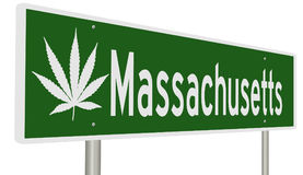 Segno della strada principale per Massachusetts con la foglia della marijuana illustrazione vettoriale