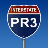 Segno della strada principale per PR3 da uno stato all'altro Fotografia Stock