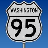 Segno della strada principale per Washington Route 95 Fotografia Stock Libera da Diritti