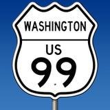 Segno della strada principale per Washington Route 99 Fotografia Stock