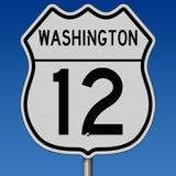 Segno della strada principale per Washington Route 12 Fotografie Stock Libere da Diritti