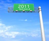 Segno della strada principale - uscita seguente 2011 Fotografia Stock
