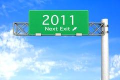 Segno della strada principale - uscita seguente 2011 Immagini Stock