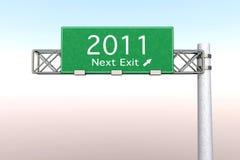 Segno della strada principale - uscita seguente 2011 Immagine Stock