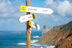 Segno della tavola della strada sull'isola di Tenerife Fotografia Stock Libera da Diritti