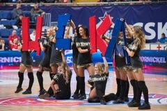 Segno della tenuta CSKA delle ragazze pon pon fotografia stock libera da diritti