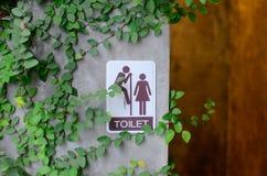 Segno della toilette con la foglia verde Immagine Stock