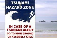 Segno della via di fuga di Tsunami Fotografia Stock Libera da Diritti