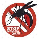 Segno della zanzara promuovere prevenzione di malaria, illustrazione di vettore royalty illustrazione gratis