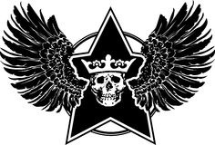 Segno delle ali, della stella e del cranio Immagine Stock Libera da Diritti