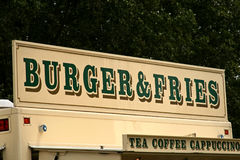 Segno delle fritture e dell'hamburger Immagini Stock