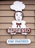 Segno delle pasticcerie e del caffè espresso Fotografie Stock Libere da Diritti